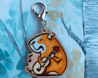 This Lil Piggy - Musical Guinea Pig wooden Keychain/Charm