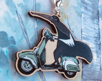 Anteater on a Vespa wooden Keychain/Charm