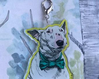 Bull Terrier Pop Art Acrylic Keychain/Charm