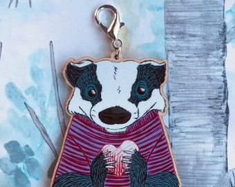 Badger with Heart wooden Keychain/Charm