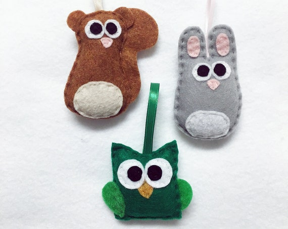 Woodland Baby Animal Christmas Ornament Set of Three