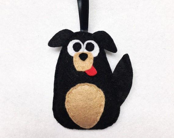 Dog Ornament, Puppy Christmas Ornament, Frank the Dog, Felt Ornament, Felt Animal, Pet Lovers Gift, Black and Tan, Rottweiler, Boxer