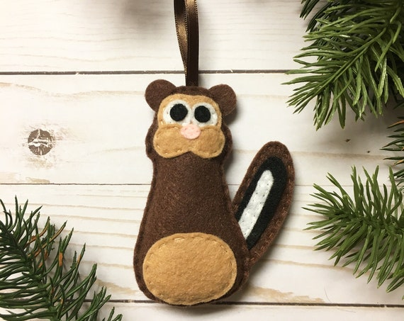 Chipmunk Ornament, Felt Christmas Ornament - Patrick the Brown Chipmunk