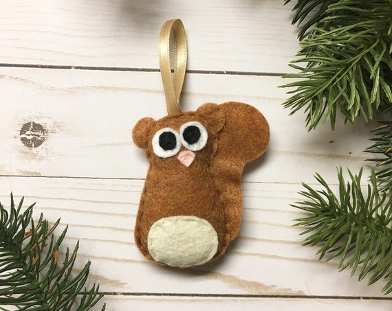 Squirrel Ornament, Christmas Ornament - Skippy the Baby Honey Squirrel