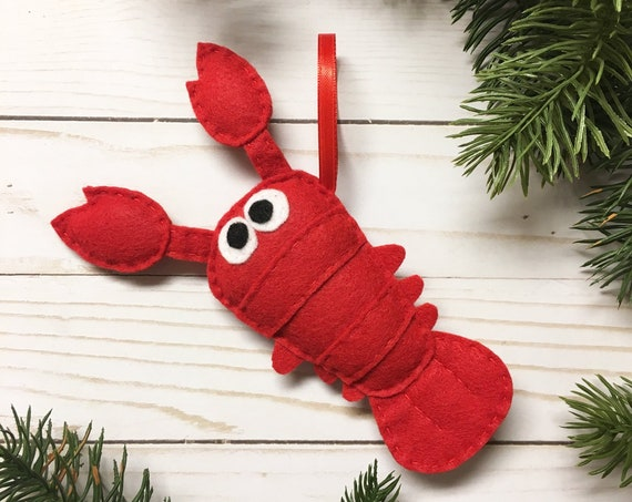Lobster Ornament, Christmas Ornament, Luigi the Lobster - Made to order