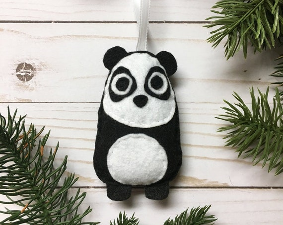 Panda Ornament, Christmas Ornament, Felt Animal, Eugene the Panda