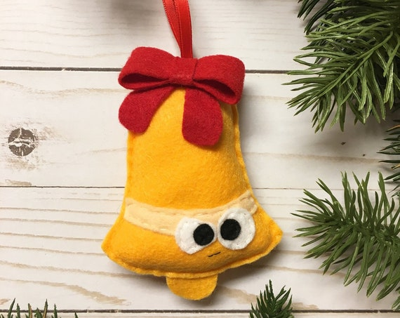 Limited Edition Bell Ornament, Christmas Ornament, Felt Holiday Ornament, Jeff the Grumpy Bell