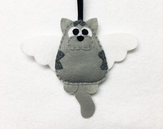 Cat Angel Ornament, Christmas Ornament, Tabby Ornaments, Mavis the Cat with Angel Wings
