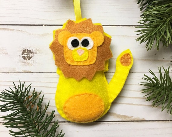 Lion Ornament, Christmas Ornament, Lambert the Yellow Lion