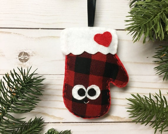 Mitten Christmas Ornament, Buffalo Plaid Mitten, Christmas Ornament, Matilda the Mitten