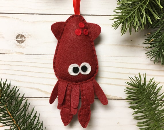 Squid Ornament, Christmas Ornament, Verne the Squid - Made to Order