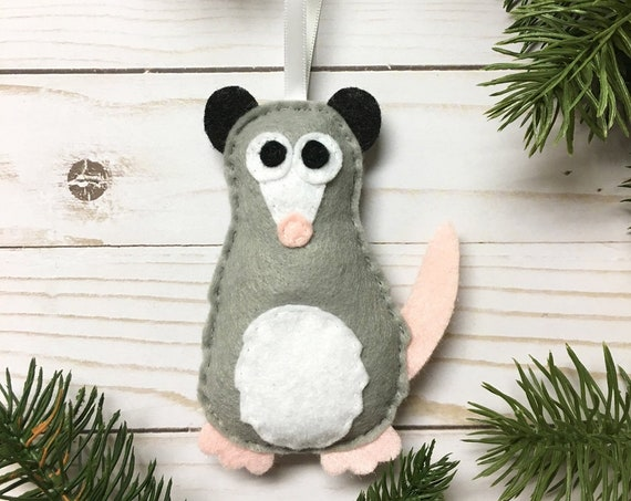 Opossum Ornament, Christmas Ornament, Patience the Possum