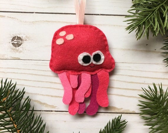 Ornament, Jelly Fish Ornament, Christmas Ornament, Patricia the Pink Jellyfish