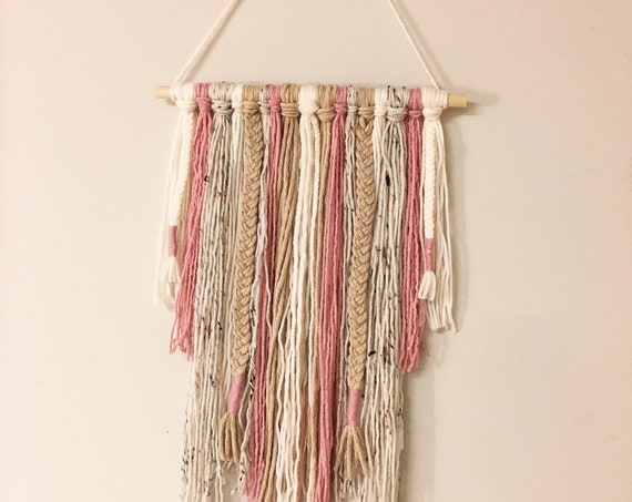 Bohemian Style Pink and Neutral Wall Hanging - Yarn Fringe Wall Decor