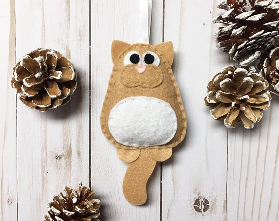 Cat Ornament, Christmas Ornament, Mr. Lou Pachoochoo the Tan Kitty Cat, Stocking Stuffer, Gift Topper, Felt Animal