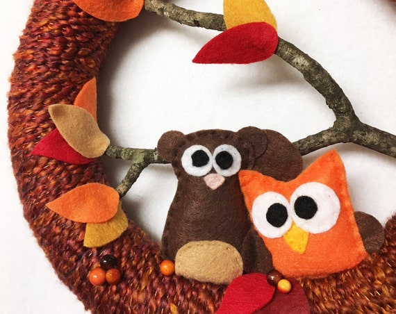 Autumn Wreath, Owl and Squirrel, Fall Decoration, Housewarming and Front Door Decoration, Woodland Decor
