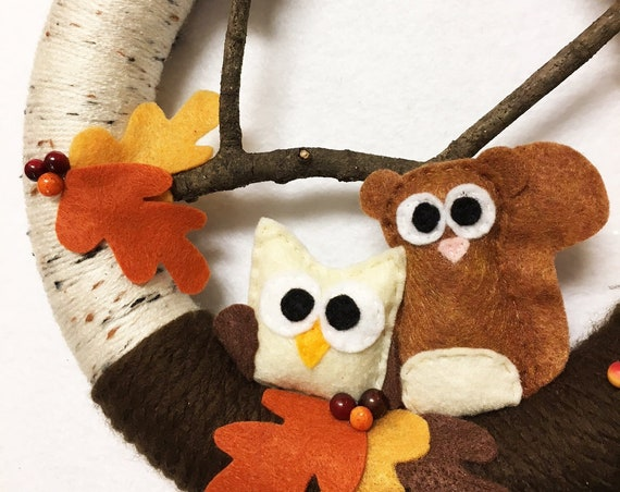 Autumn Wreath, Owl and Squirrel, Fall Decoration, Housewarming and Front Door Decoration, Neutral Woodland Decor