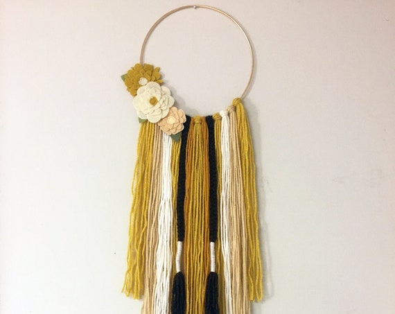 Bohemian Style Earth Tones Wall Hanging With Flowers - Yarn Fringe Wall Decor