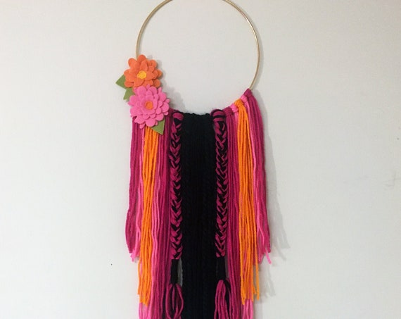 Yarn Wall Decor - Boho Eclectic Style Pink and Black Wall Hanging With Flowers