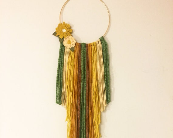Bohemian Style Mustard and Green Wall Hanging With Flowers - Yarn Fringe Wall Decor