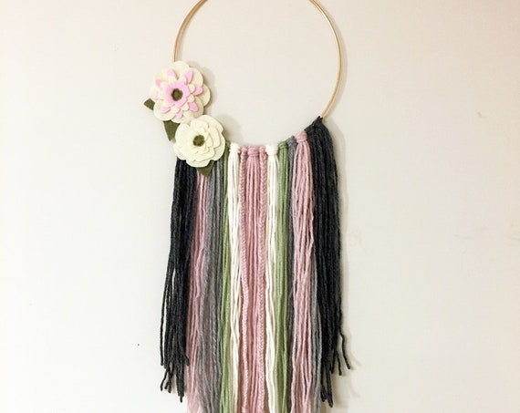 Yarn Wall Hanging - Bohemian Style Pink and Charcoal Gray Wall Decor With Flowers
