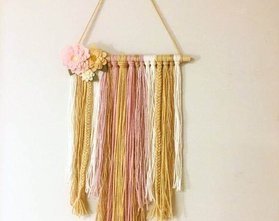 Boho Style Pink and Neutral Wall Hanging With Flowers - Yarn Fringe Wall Decor