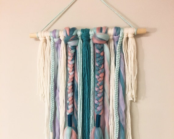 Bohemian Style Teal and Neutral Wall Hanging - Braided Wall Art