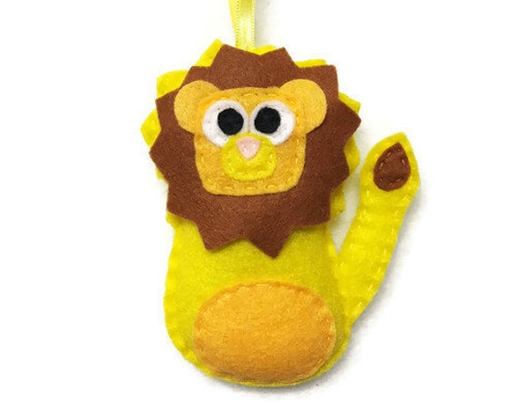 Lion Ornament, Felt Ornament, Lambert the Yellow Lion