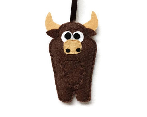 Bull Ornament, Christmas Ornament, Felt Ornament, Buster the Bull