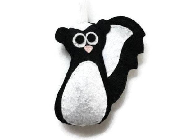 Skunk Ornament, Felt Skunk, Christmas Ornament, Kenneth the Skunk, Made to order