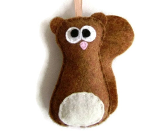 Squirrel Ornament, Felt Holiday Ornament - Sherlock the Honey Squirrel, Made to order