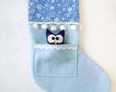 Felt Christmas Stocking - Pocket Peeper Owl - Winter Wonderland - Blue Snowflakes
