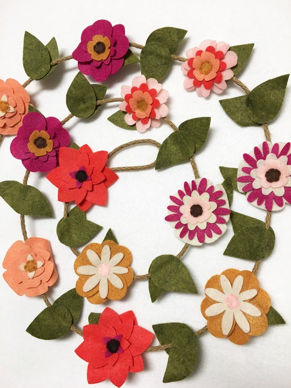 Flower Garland, Autumn Flowers, Felt Flower Garland, Wedding/Nursery Decoration