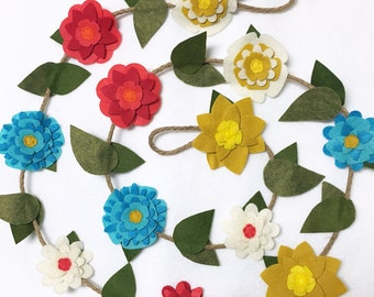 Flower Garland, Mustard Coral and Teal Flowers, Felt Flower Garland, Posable Twine, Room Decoration, Wedding, Party Decoration