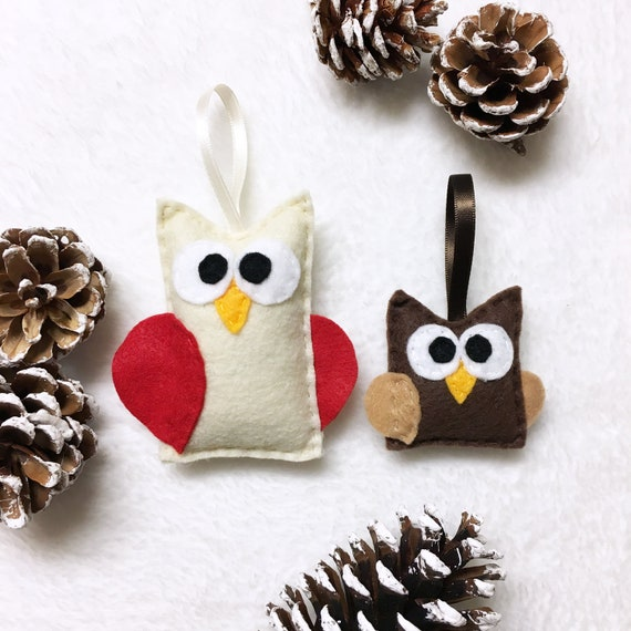 Owl Rustic Christmas Ornament Set - Mother and Baby Owl set