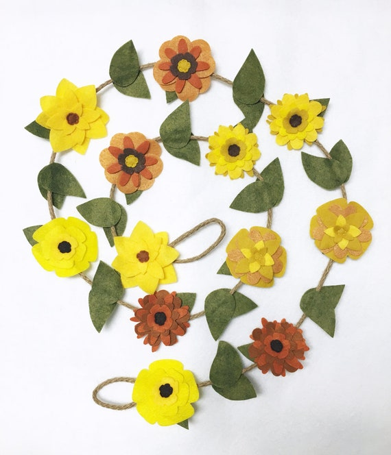 Yellow Felt Flower Garland on Posable Twine - Boho Inspired Decor