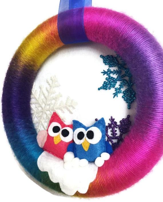 Rainbow Wreath, Christmas Wreath, Baby Owl Wreath, Rainbow Door Decoration, Door Hanger, Housewarming Gift under 30