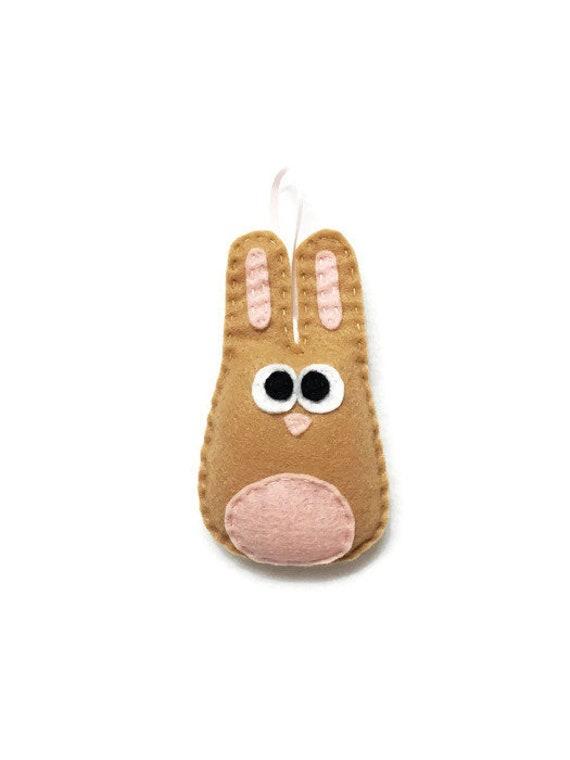 Rabbit Ornament, Bunny Ornament, Christmas Ornament, Beth the Tan Bunny, Woodland Animal, Felt Animal, Forest Animal