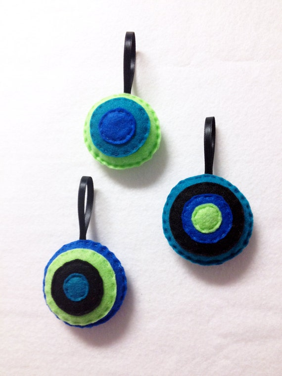 Ornament, Christmas Ornament, Felt Holiday Ornament Set, Peacock, Hand Stitched Accent Decor, Lime Black Green Teal