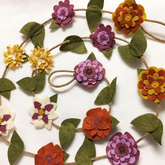 Flower Garland, Plum and Ivory Flowers, Felt Flower Garland, Wire Twine, Autumn Decor, Wedding and Party Decoration, Made to Order