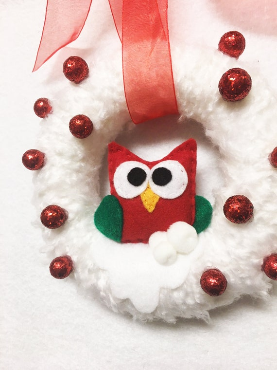 Owl Wreath, Winter Christmas Snowy Fluff Wreath,  Small Door hanger