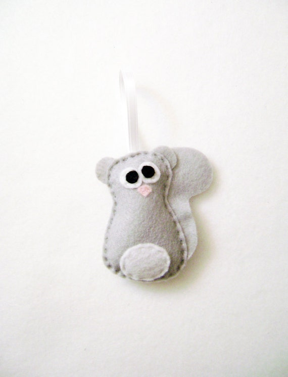 Squirrel Ornament, Felt Christmas Ornament, Leopold the Baby Gray Squirrel