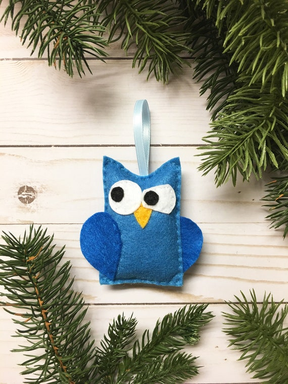 Owl Ornament, Christmas Ornament, Professor Peacock the Blue Owl