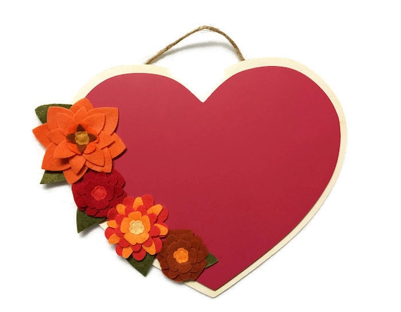 Flower Chalk Paint Heart, Wood Plaque, Floral Wall Decor to personalize yourself