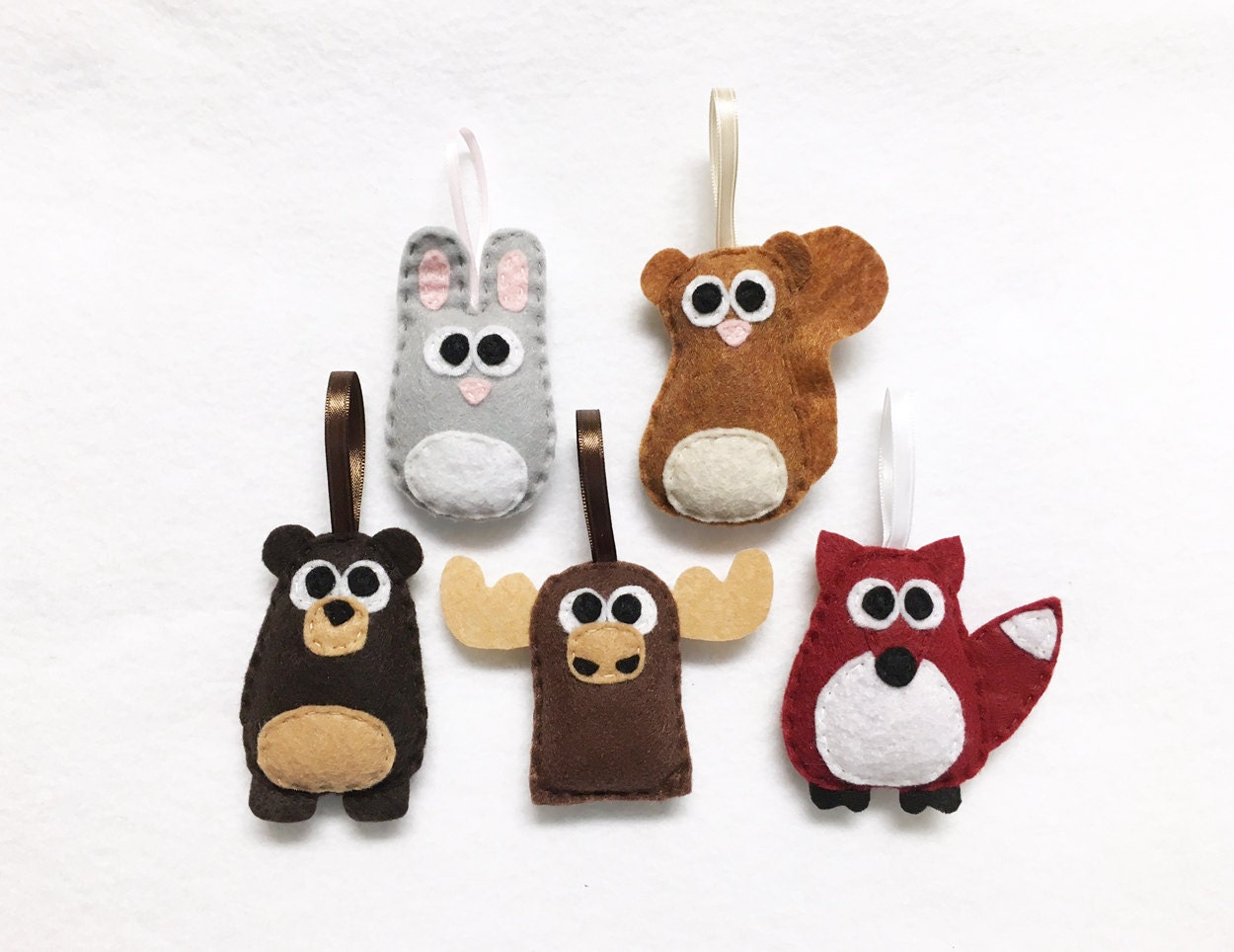 woodland animals ornament set forest friends set of five ornaments wedding favors party favors christmas ornament