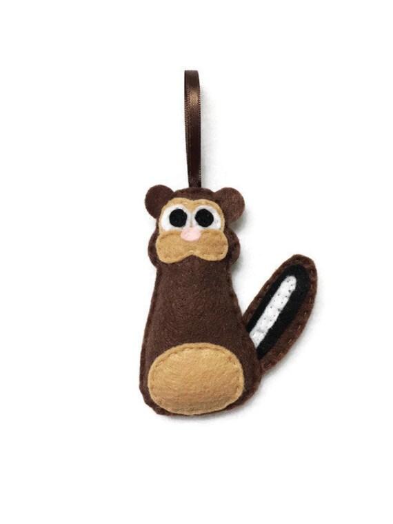 Chipmunk Ornament, Felt Christmas Ornament - Patrick the Brown Chipmunk