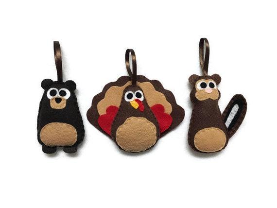Woodland animal Ornaments, Bear, Chipmunk, Turkey - Set of Three Ornaments, Birthday Favors, Rustic Decoration, Christmas Ornament