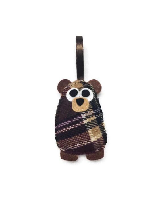 Bear Ornament, Christmas Ornament, Dana the Plaid Baby Bear, Felt Ornament, Forest Animal, Woodland Decoration, Bear Plush Gift