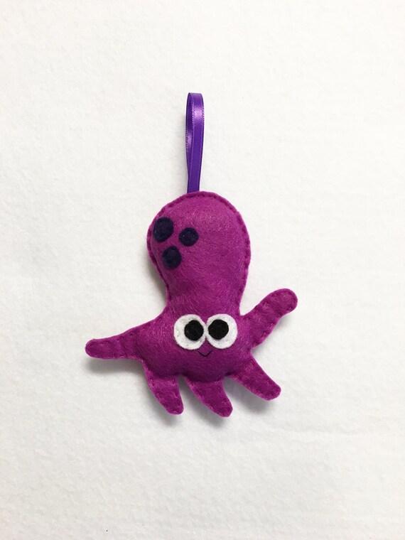 Octopus Ornament, Christmas Ornament, Shannon the Octopus, Felt Animal, Ocean