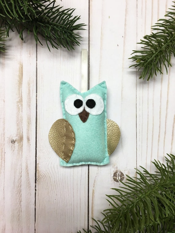 Owl Ornament, Christmas Ornament, Emily the Mint and Gold Owl